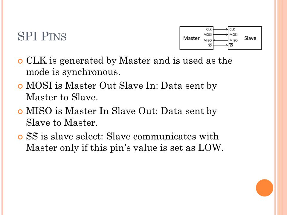 SPI P INS CLK is generated by Master and is used as the mode is synchronous.