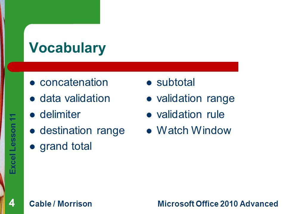 Excel Lesson 11 Cable / MorrisonMicrosoft Office 2010 Advanced Vocabulary 444 concatenation data validation delimiter destination range grand total su