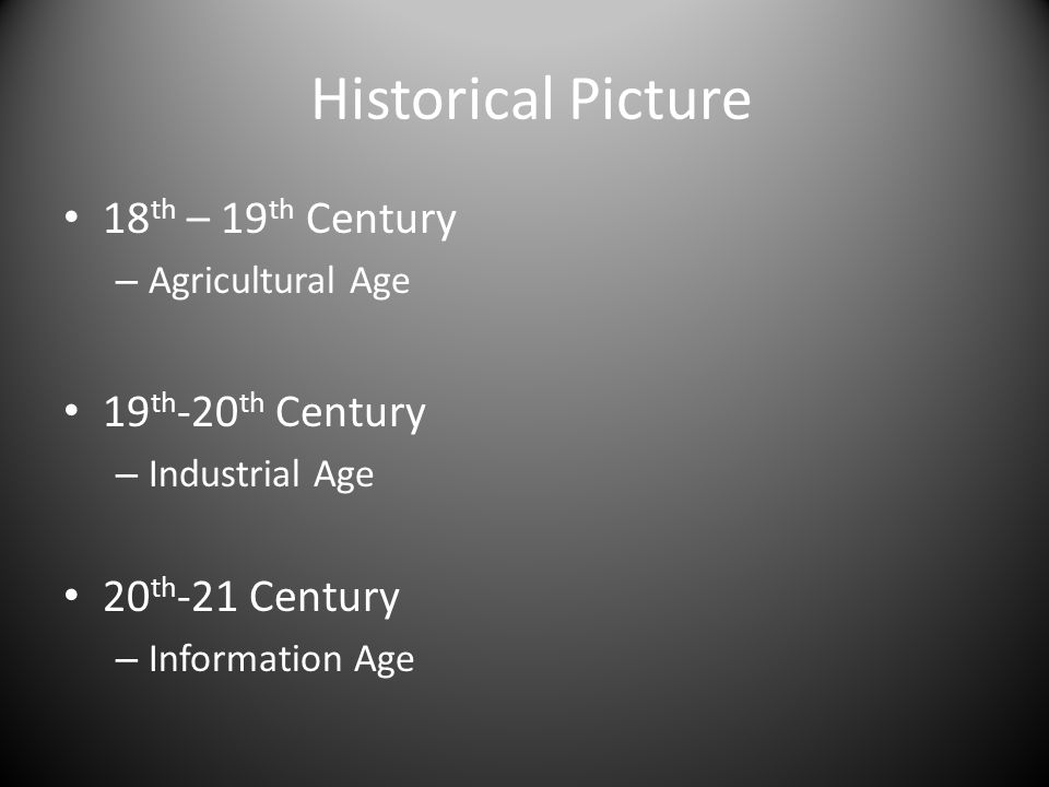 Historical Picture 18 th – 19 th Century – Agricultural Age 19 th -20 th Century – Industrial Age 20 th -21 Century – Information Age