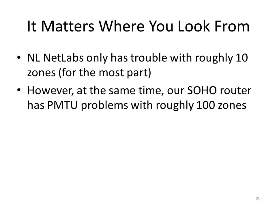 It Matters Where You Look From NL NetLabs only has trouble with roughly 10 zones (for the most part) However, at the same time, our SOHO router has PM