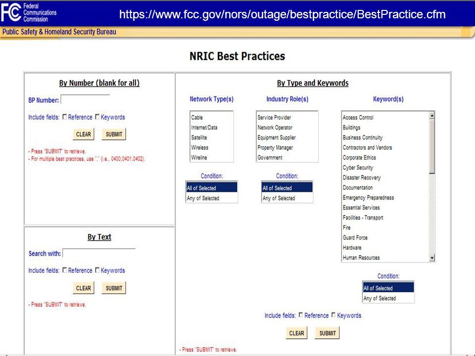 Best Practices Tutorial February 2014 13 https://www.fcc.gov/nors/outage/bestpractice/BestPractice.cfm