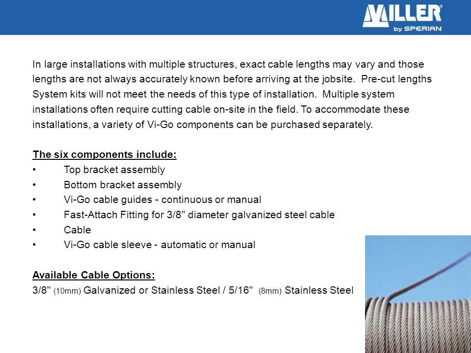 In large installations with multiple structures, exact cable lengths may vary and those lengths are not always accurately known before arriving at the