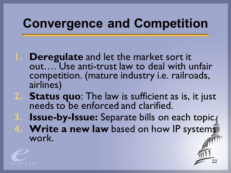 22 Convergence and Competition 1.Deregulate and let the market sort it out….