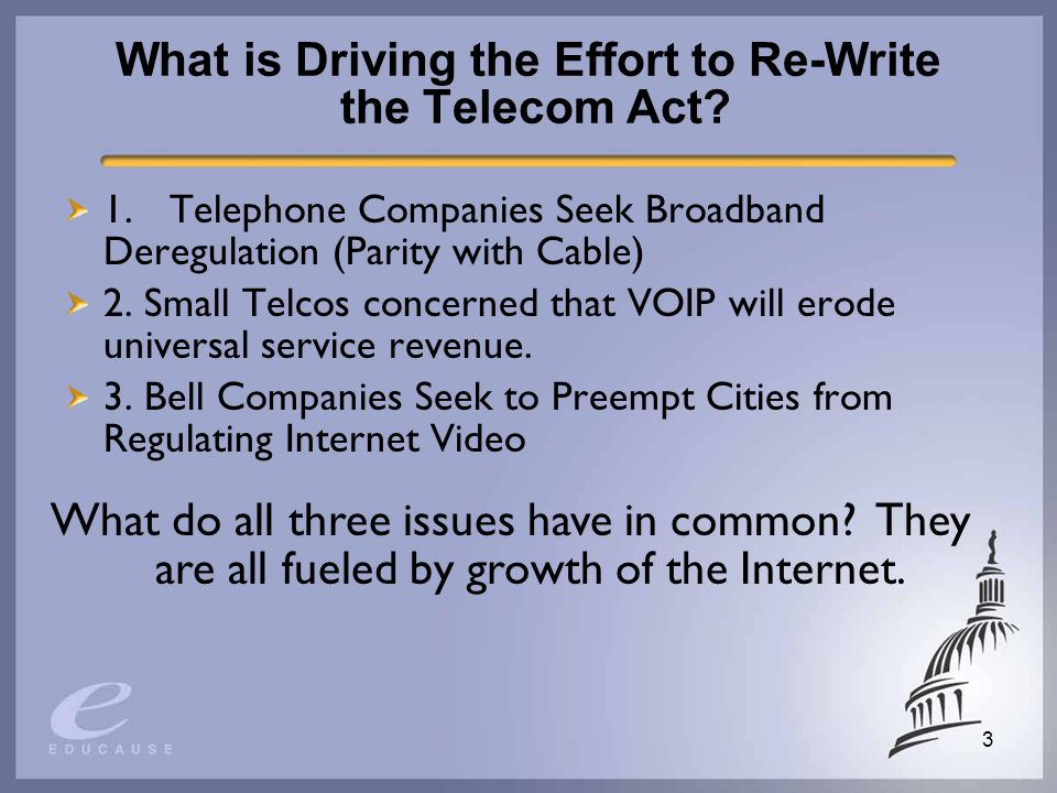 3 What is Driving the Effort to Re-Write the Telecom Act.