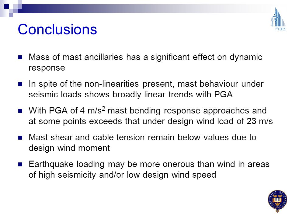 Conclusions Mass of mast ancillaries has a significant effect on dynamic response In spite of the non-linearities present, mast behaviour under seismi