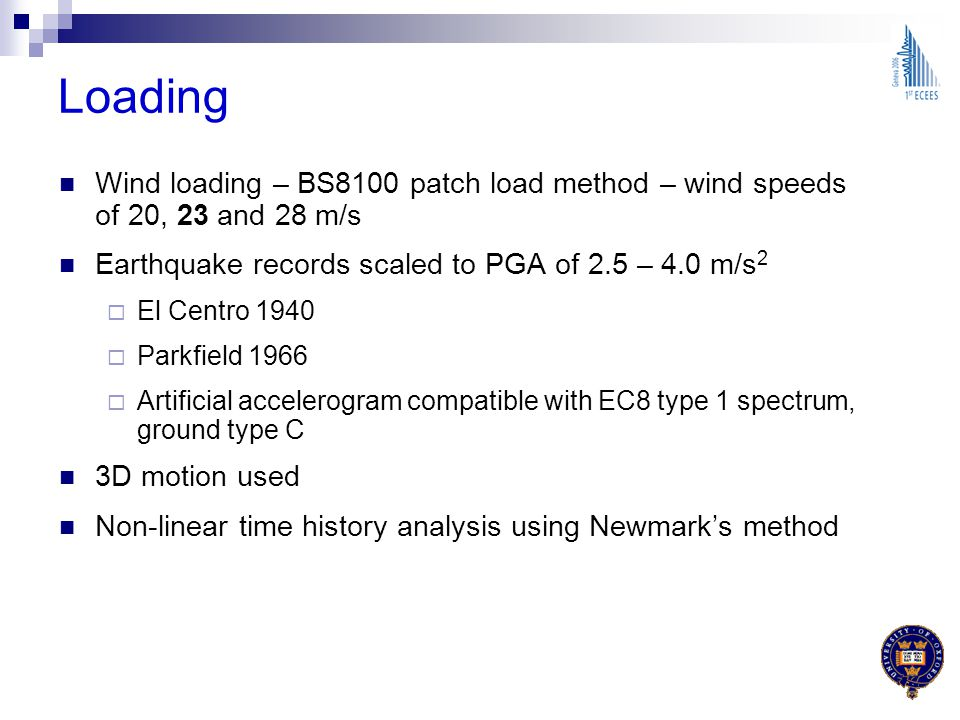 Loading Wind loading – BS8100 patch load method – wind speeds of 20, 23 and 28 m/s Earthquake records scaled to PGA of 2.5 – 4.0 m/s 2 El Centro 1940