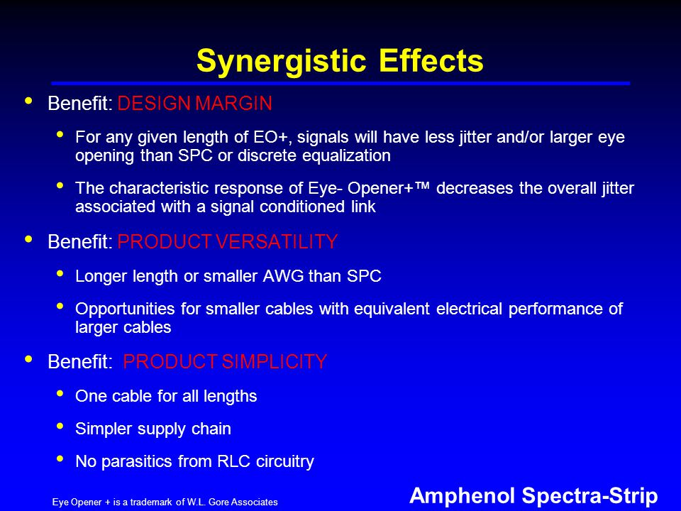 Amphenol Spectra-Strip Synergistic Effects Benefit: DESIGN MARGIN For any given length of EO+, signals will have less jitter and/or larger eye opening than SPC or discrete equalization The characteristic response of Eye- Opener+ decreases the overall jitter associated with a signal conditioned link Benefit: PRODUCT VERSATILITY Longer length or smaller AWG than SPC Opportunities for smaller cables with equivalent electrical performance of larger cables Benefit: PRODUCT SIMPLICITY One cable for all lengths Simpler supply chain No parasitics from RLC circuitry Eye Opener + is a trademark of W.L.
