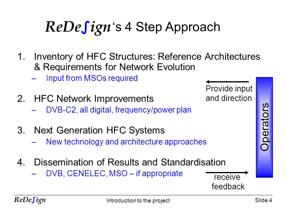 Slide 4 Introduction to the project s 4 Step Approach 1.Inventory of HFC Structures: Reference Architectures & Requirements for Network Evolution –Input from MSOs required 2.HFC Network Improvements –DVB-C2, all digital, frequency/power plan 3.Next Generation HFC Systems –New technology and architecture approaches 4.Dissemination of Results and Standardisation –DVB, CENELEC, MSO – if appropriate Operators Provide input and direction receive feedback
