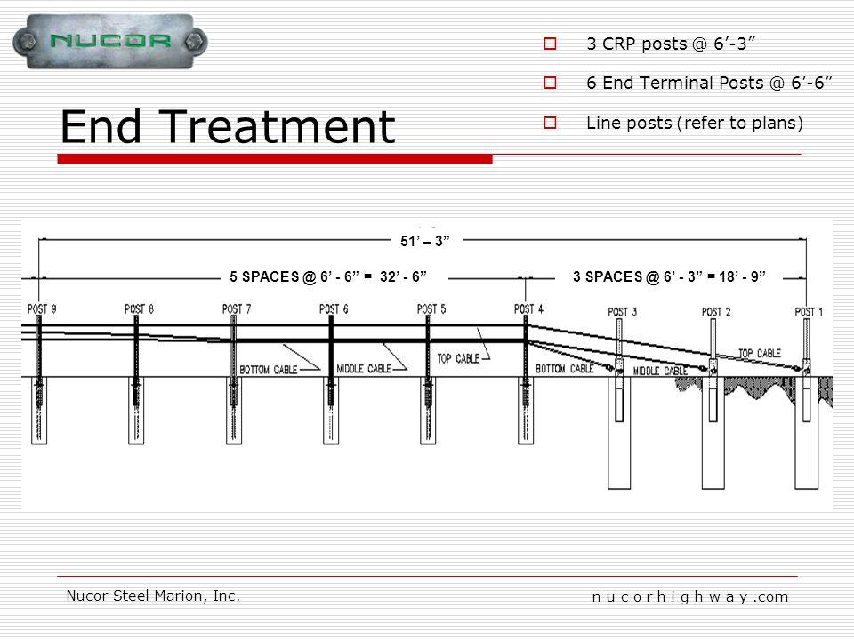 n u c o r h i g h w a y.com Nucor Steel Marion, Inc. End Treatment 5 SPACES @ 6 - 6 = 32 - 63 SPACES @ 6 - 3 = 18 - 9 51 – 3 3 CRP posts @ 6-3 6 End T