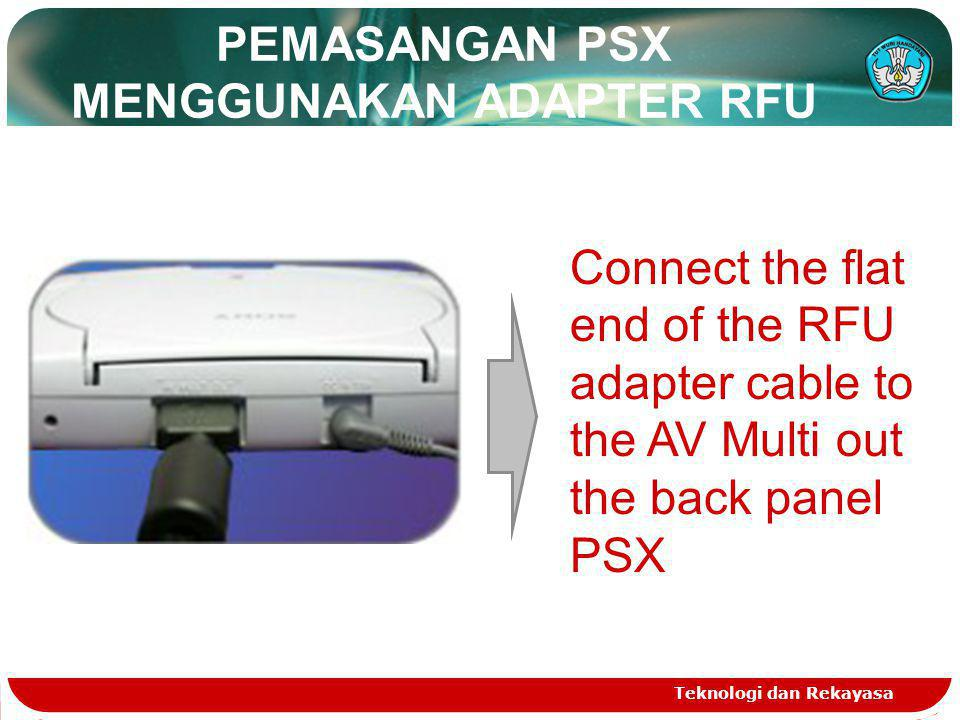 PEMASANGAN PSX MENGGUNAKAN ADAPTER RFU Connect the flat end of the RFU adapter cable to the AV Multi out the back panel PSX