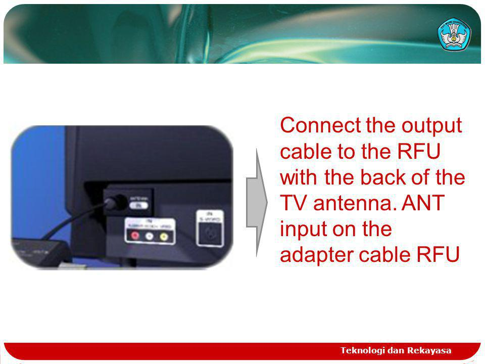 Connect the output cable to the RFU with the back of the TV antenna.