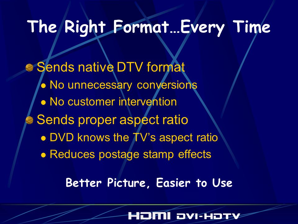 The Right Format…Every Time Sends native DTV format No unnecessary conversions No customer intervention Sends proper aspect ratio DVD knows the TVs aspect ratio Reduces postage stamp effects Better Picture, Easier to Use