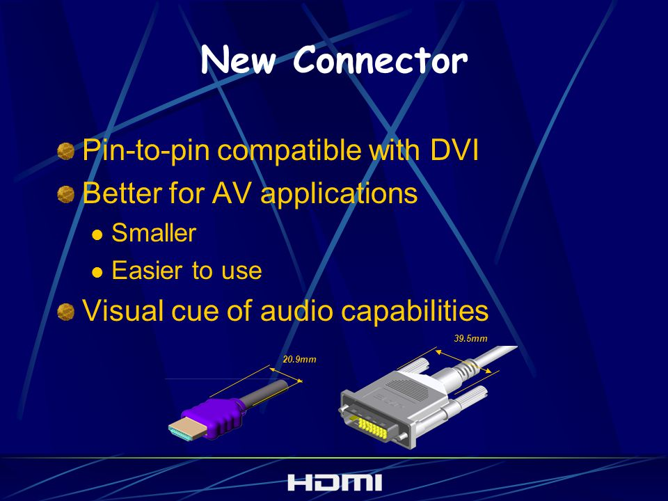 New Connector Pin-to-pin compatible with DVI Better for AV applications Smaller Easier to use Visual cue of audio capabilities 39.5mm 20.9mm