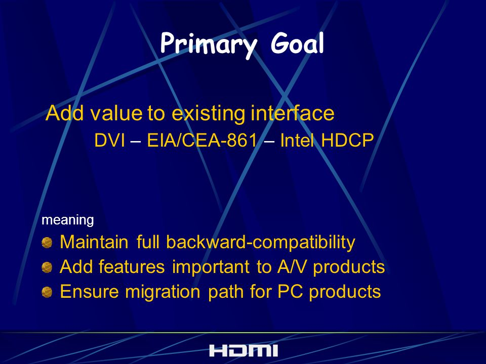Primary Goal meaning Maintain full backward-compatibility Add features important to A/V products Ensure migration path for PC products Add value to existing interface DVI – EIA/CEA-861 – Intel HDCP