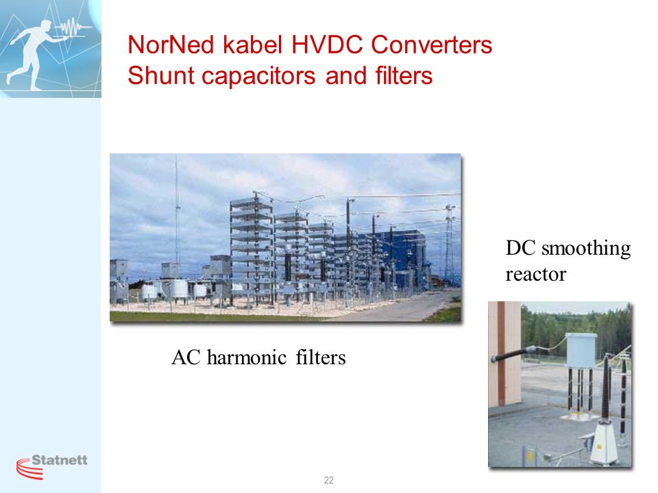 22 NorNed kabel HVDC Converters Shunt capacitors and filters AC harmonic filters DC smoothing reactor