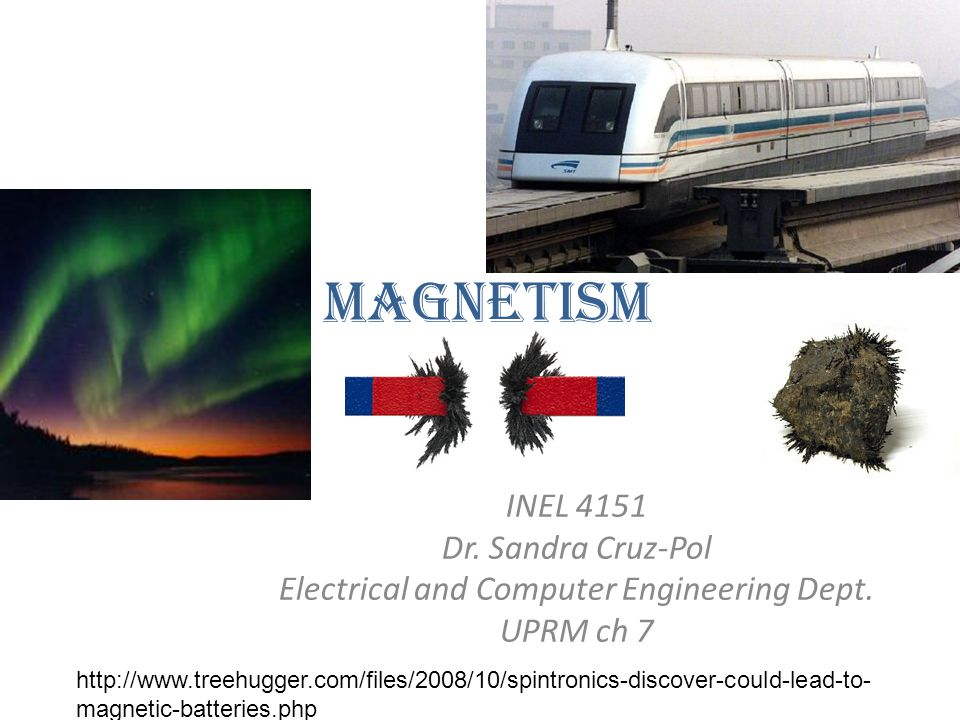 Magnetism INEL 4151 Dr. Sandra Cruz-Pol Electrical and Computer Engineering Dept. UPRM ch 7 http://www.treehugger.com/files/2008/10/spintronics-discov