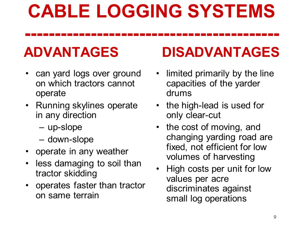 9 CABLE LOGGING SYSTEMS ADVANTAGES DISADVANTAGES can yard logs over ground on which tractors cannot operate Running skylines operate in any direction –up-slope –down-slope operate in any weather less damaging to soil than tractor skidding operates faster than tractor on same terrain limited primarily by the line capacities of the yarder drums the high-lead is used for only clear-cut the cost of moving, and changing yarding road are fixed, not efficient for low volumes of harvesting High costs per unit for low values per acre discriminates against small log operations