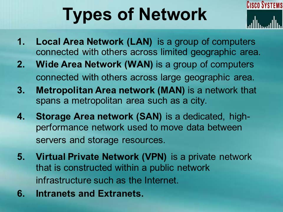 Types of Network 1.Local Area Network (LAN) is a group of computers connected with others across limited geographic area. 2.Wide Area Network (WAN) is