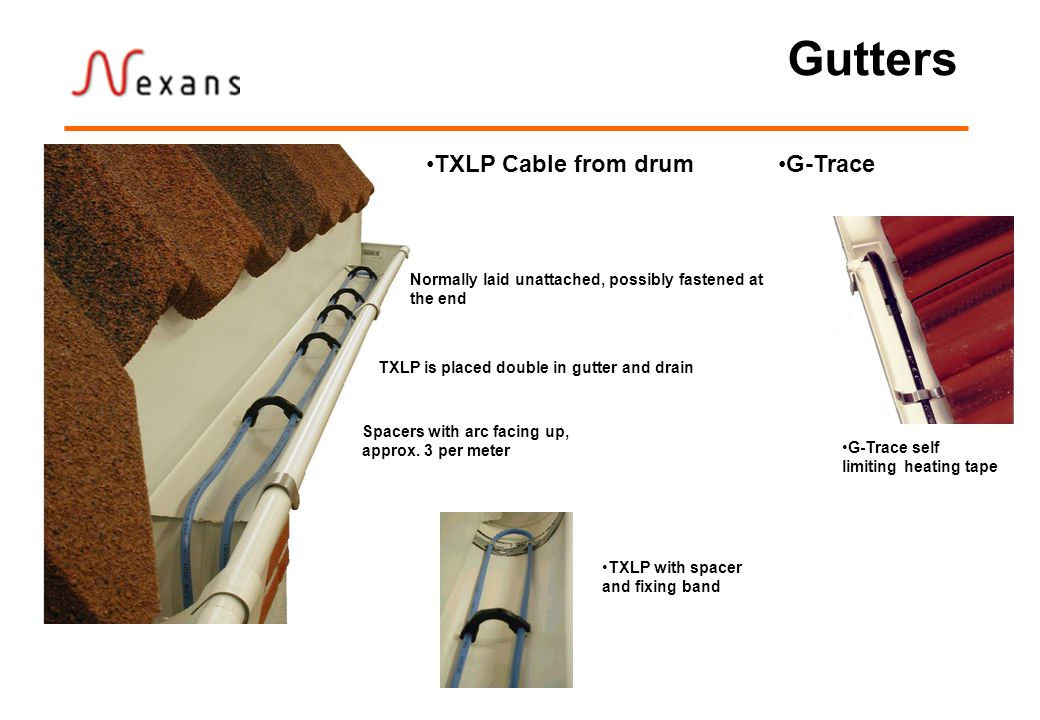 Gutters TXLP with spacer and fixing band TXLP Cable from drum Spacers with arc facing up, approx.