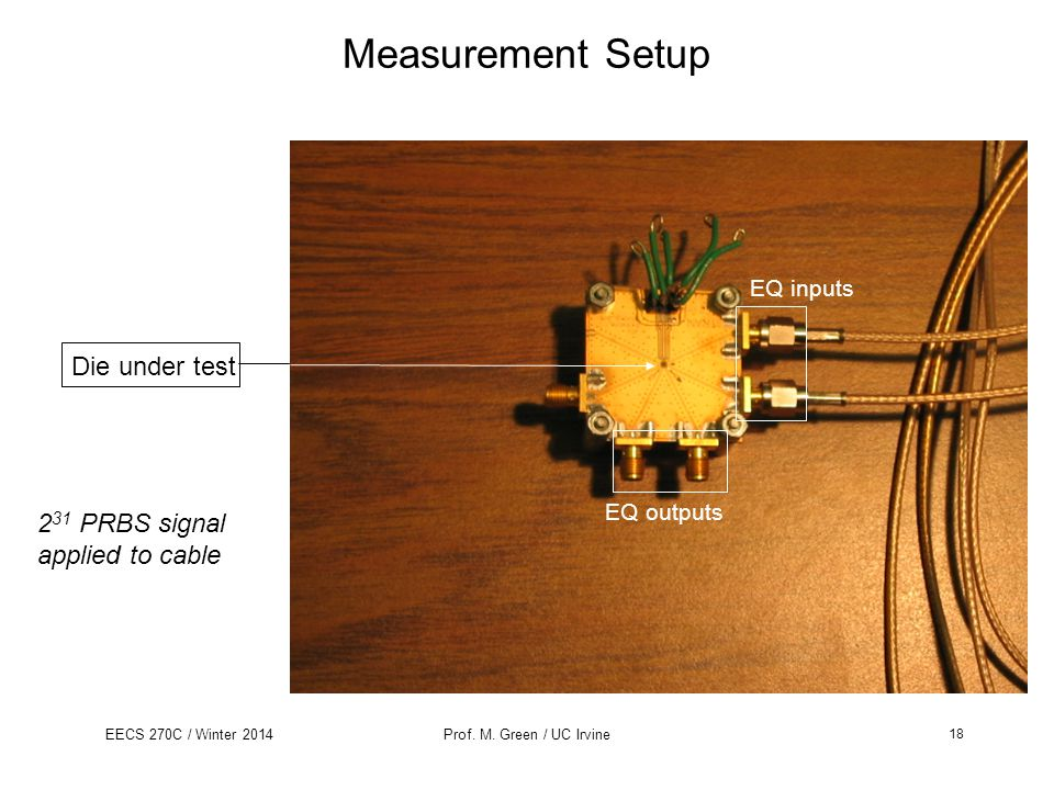 EECS 270C / Winter 2014Prof. M. Green / UC Irvine Measurement Setup Die under test 2 31 PRBS signal applied to cable EQ inputs EQ outputs 18