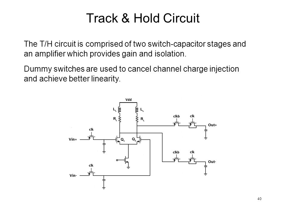 Track & Hold Circuit The T/H circuit is comprised of two switch-capacitor stages and an amplifier which provides gain and isolation. Dummy switches ar