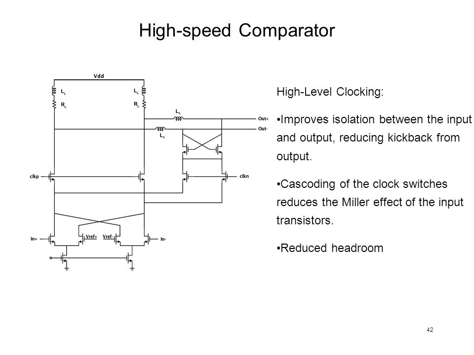 High-speed Comparator High-Level Clocking: Improves isolation between the input and output, reducing kickback from output. Cascoding of the clock swit