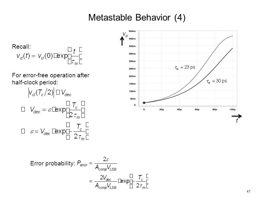 Metastable Behavior (4) t Recall: For error-free operation after half-clock period: Error probability: 47