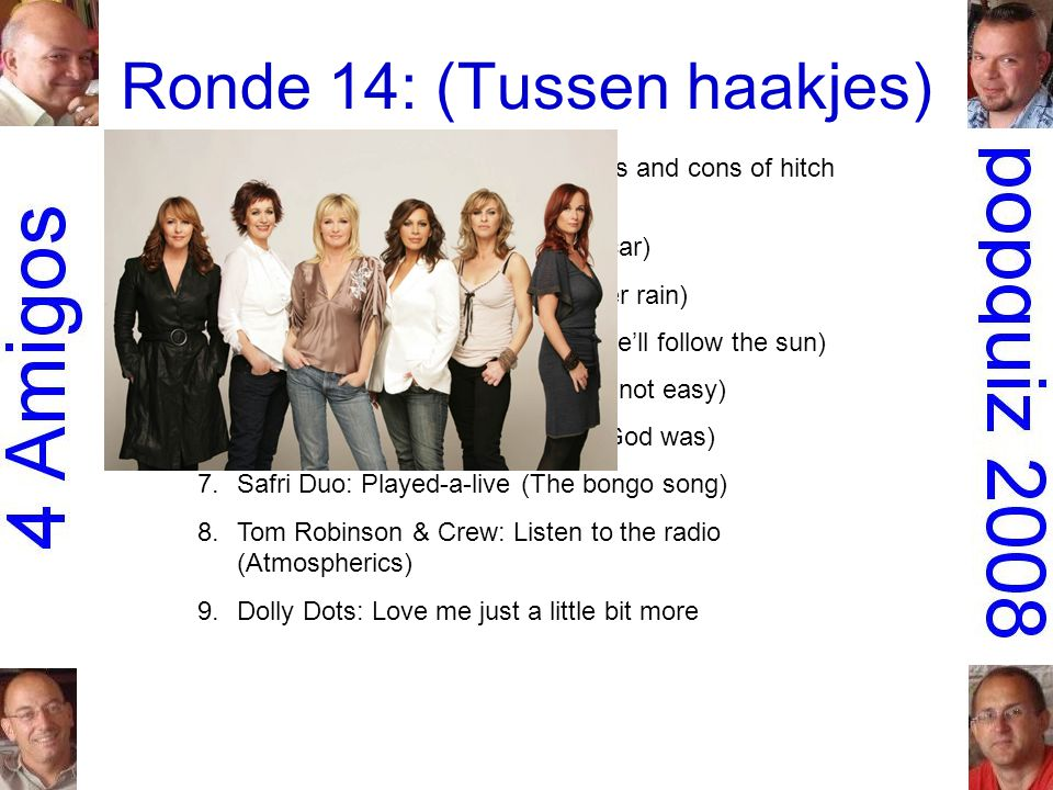 Ronde 14: (Tussen haakjes) 1.Roger Waters: 5.01 AM (The pros and cons of hitch hiking) 2.the Fray: Over my head (Cable car) 3.Turin Brakes: Pain kille