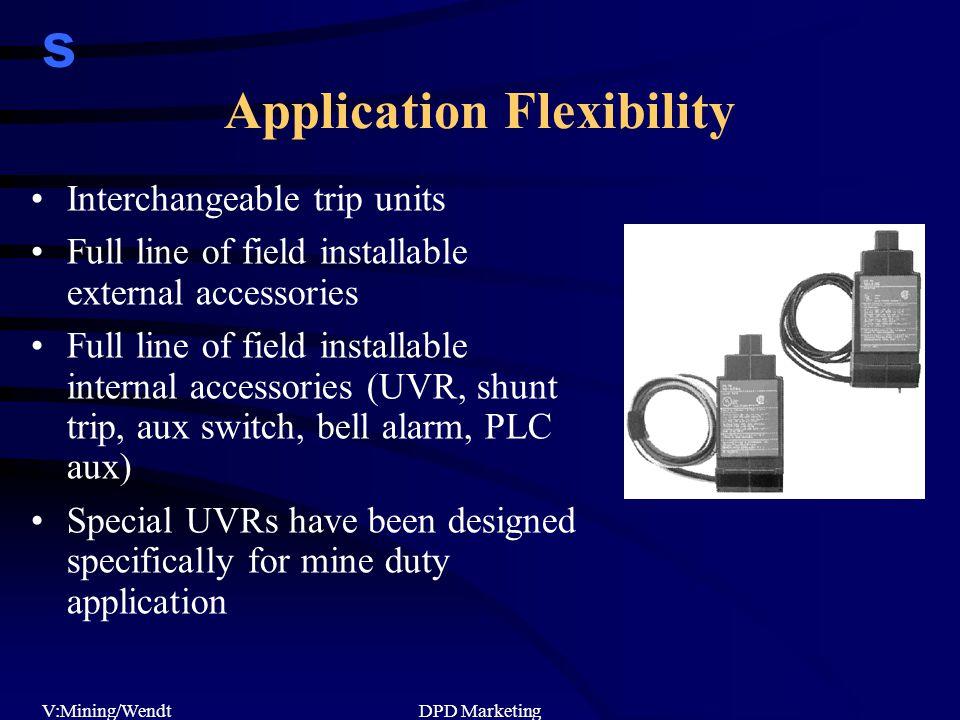 s V:Mining/WendtDPD Marketing Application Flexibility Interchangeable trip units Full line of field installable external accessories Full line of fiel