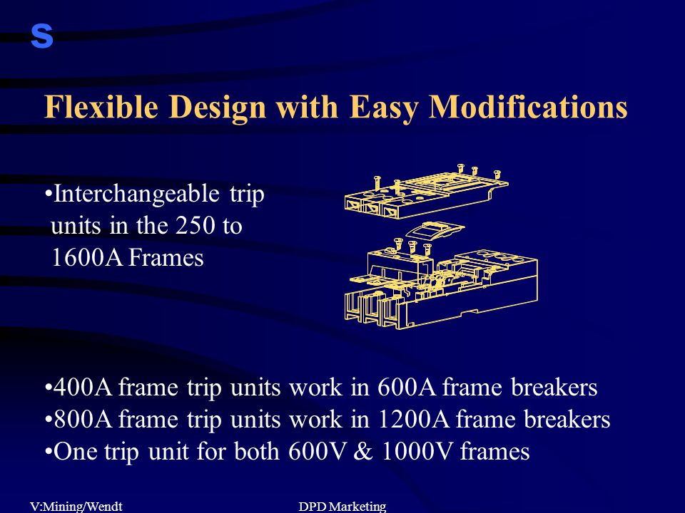 s V:Mining/WendtDPD Marketing Flexible Design with Easy Modifications Interchangeable trip units in the 250 to 1600A Frames 400A frame trip units work