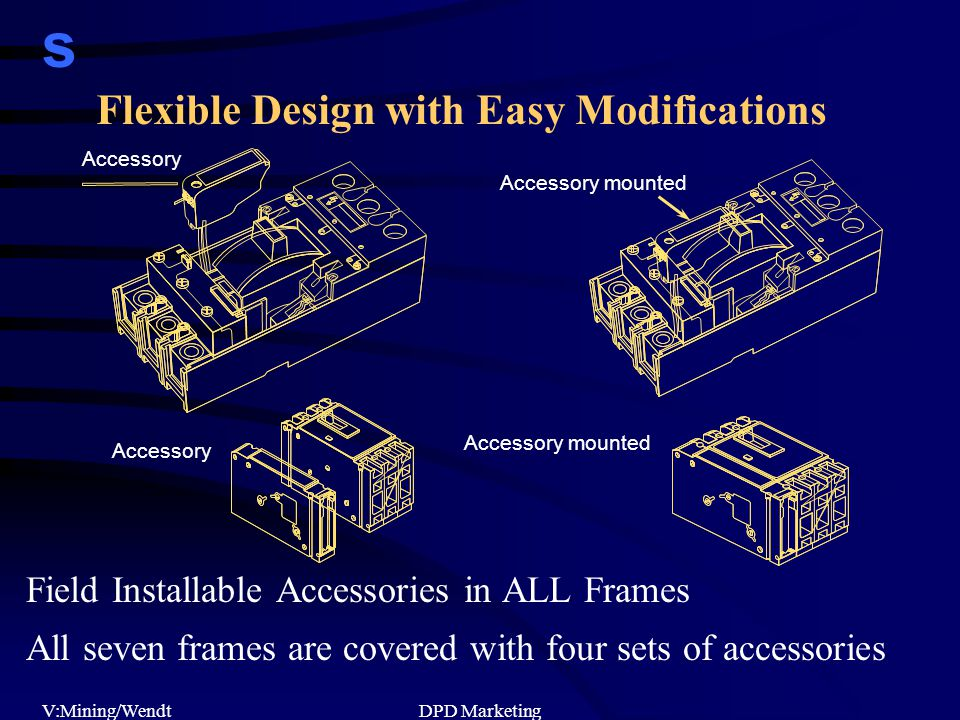 s V:Mining/WendtDPD Marketing Field Installable Accessories in ALL Frames All seven frames are covered with four sets of accessories Accessory mounted Accessory Accessory mounted Flexible Design with Easy Modifications