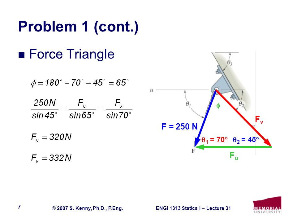 ENGI 1313 Statics I – Lecture 31© 2007 S. Kenny, Ph.D., P.Eng. 7 Problem 1 (cont.) Force Triangle F = 250 N FvFv FuFu 2 = 45 1 = 70