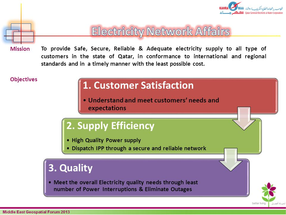 1. Customer Satisfaction Understand and meet customers needs and expectations 2. Supply Efficiency High Quality Power supply Dispatch IPP through a se