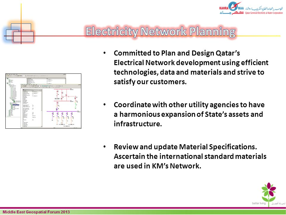 Committed to Plan and Design Qatars Electrical Network development using efficient technologies, data and materials and strive to satisfy our customer