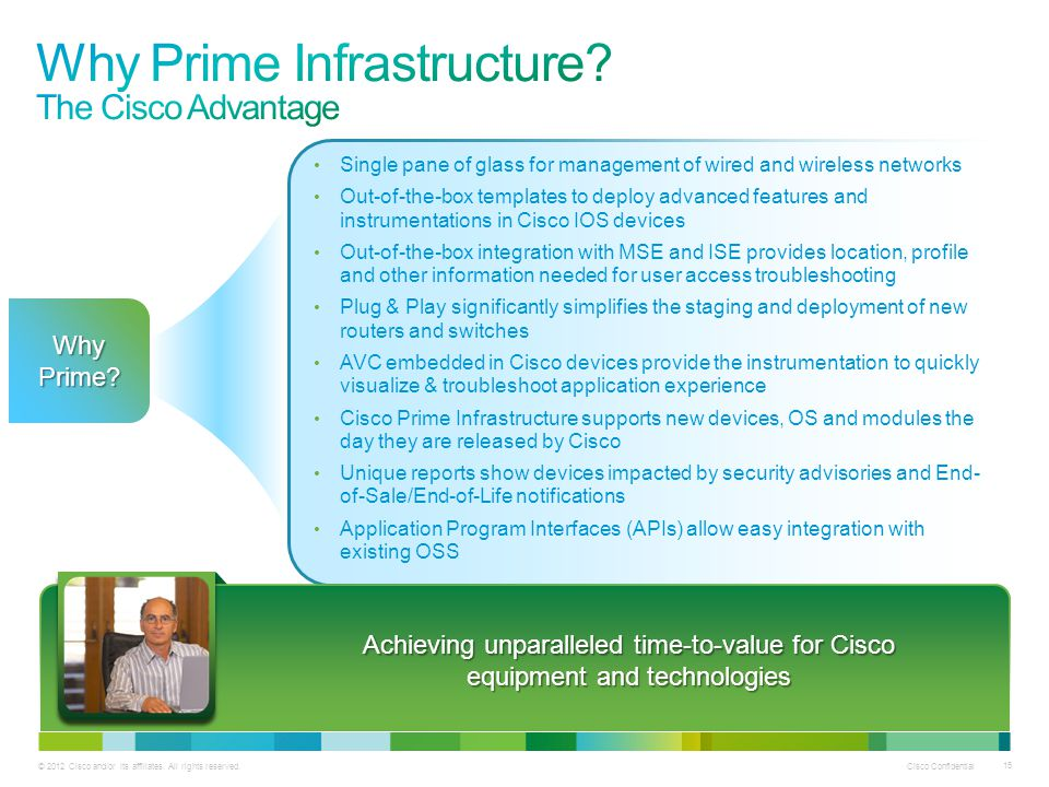 © 2012 Cisco and/or its affiliates. All rights reserved. Cisco Confidential 15 Achieving unparalleled time-to-value for Cisco equipment and technologi