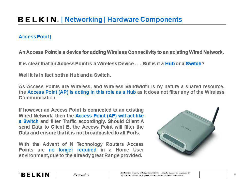 Slide Number 8 Confidential property of Belkin International. Unlawful to copy or reproduce in any manner without the express written consent of Belki