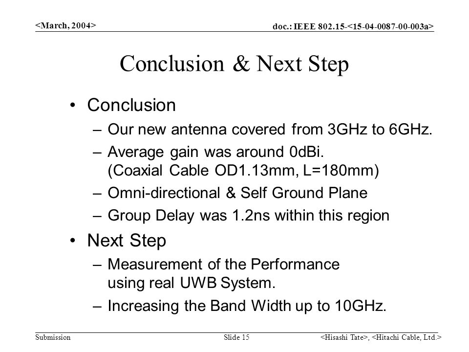 doc.: IEEE 802.15- Submission, Slide 15 Conclusion & Next Step Conclusion –Our new antenna covered from 3GHz to 6GHz.