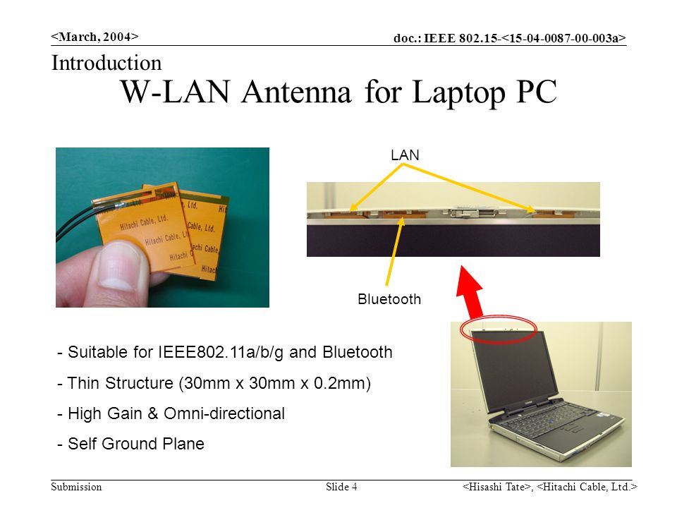 doc.: IEEE 802.15- Submission, Slide 4 W-LAN Antenna for Laptop PC Bluetooth LAN Introduction - Suitable for IEEE802.11a/b/g and Bluetooth - Thin Structure (30mm x 30mm x 0.2mm) - High Gain & Omni-directional - Self Ground Plane
