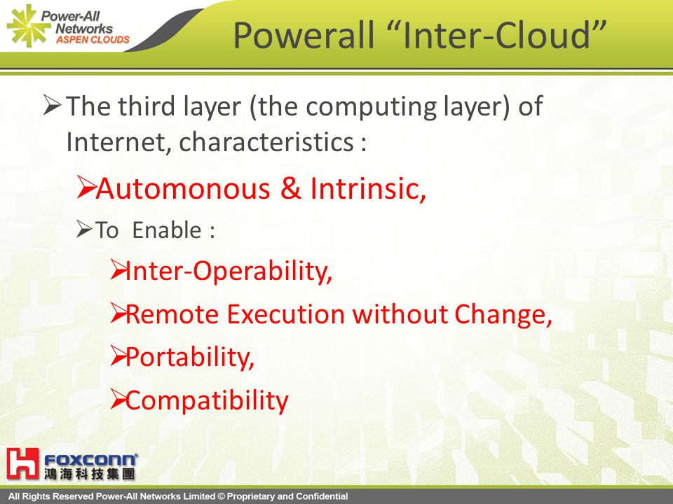 Powerall Inter-Cloud The third layer (the computing layer) of Internet, characteristics : Automonous & Intrinsic, To Enable : Inter-Operability, Remote Execution without Change, Portability, Compatibility
