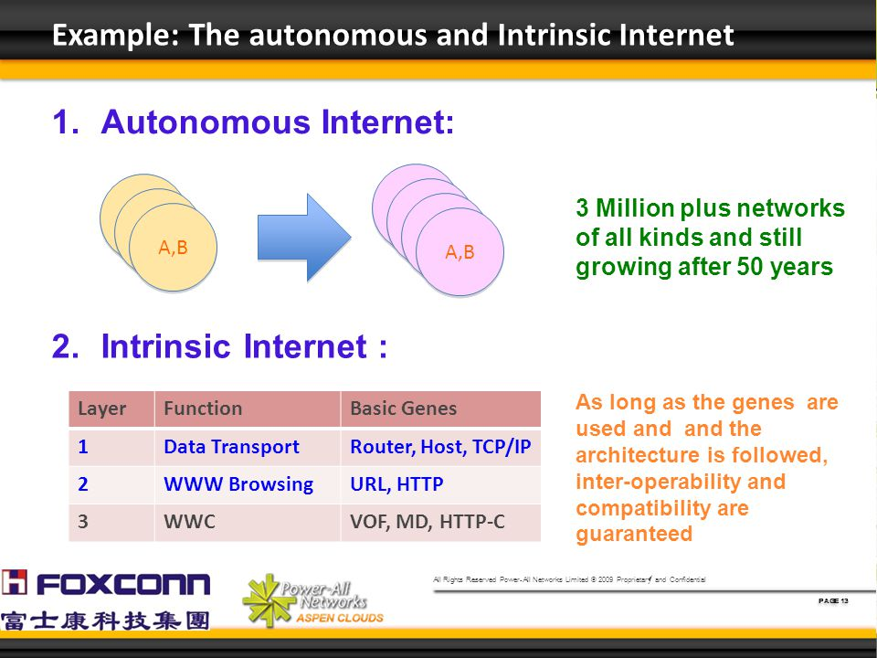 All Rights Reserved Power-All Networks Limited © 2009 Proprietary and Confidential PAGE 13 Example: The autonomous and Intrinsic Internet A A A A A,B