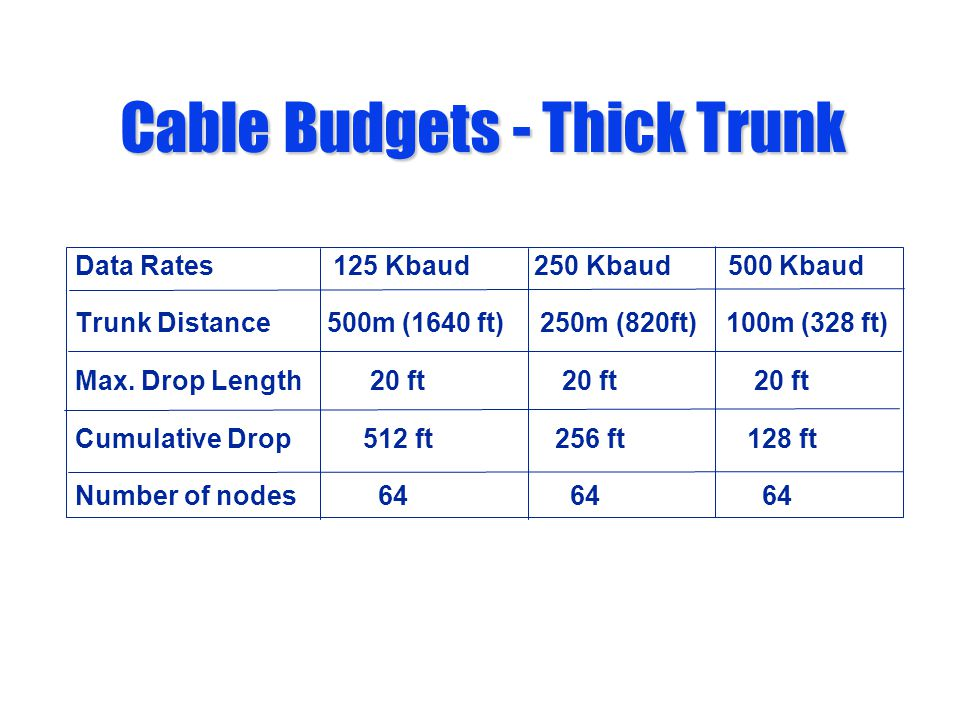 Cable Budgets - Thick Trunk Data Rates 125 Kbaud 250 Kbaud 500 Kbaud Trunk Distance 500m (1640 ft) 250m (820ft) 100m (328 ft) Max. Drop Length 20 ft 2
