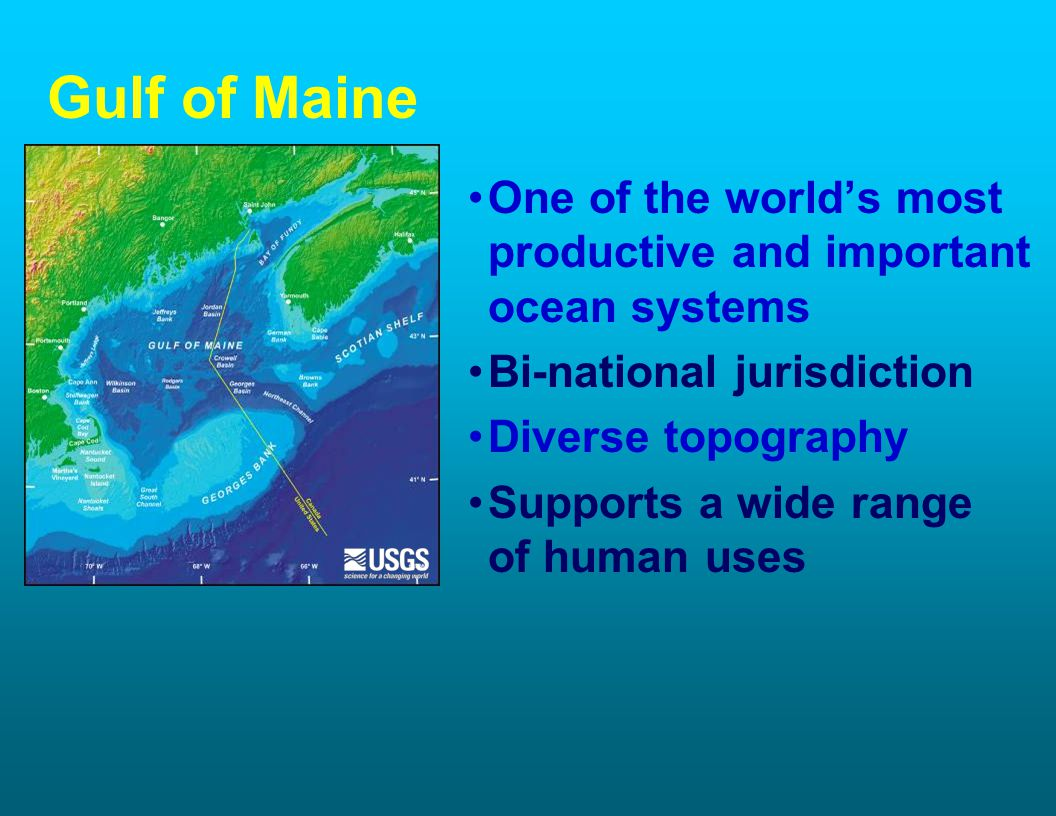 Gulf of Maine One of the worlds most productive and important ocean systems Bi-national jurisdiction Diverse topography Supports a wide range of human