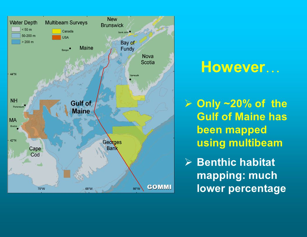 GOMMI However … Only ~20% of the Gulf of Maine has been mapped using multibeam Benthic habitat mapping: much lower percentage