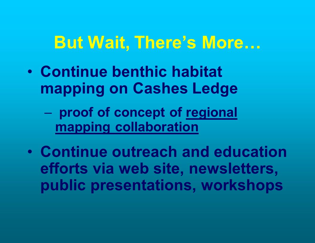 But Wait, Theres More… Continue benthic habitat mapping on Cashes Ledge – proof of concept of regional mapping collaboration Continue outreach and education efforts via web site, newsletters, public presentations, workshops