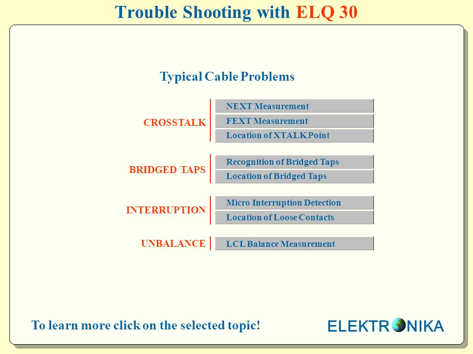 Trouble Shooting with ELQ 30 CROSSTALK BRIDGED TAPS INTERRUPTION UNBALANCE Typical Cable Problems ELEKTR NIKA To learn more click on the selected topic.