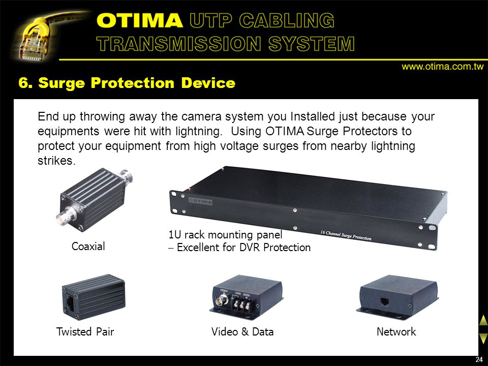 6. Surge Protection Device Coaxial End up throwing away the camera system you Installed just because your equipments were hit with lightning. Using OT