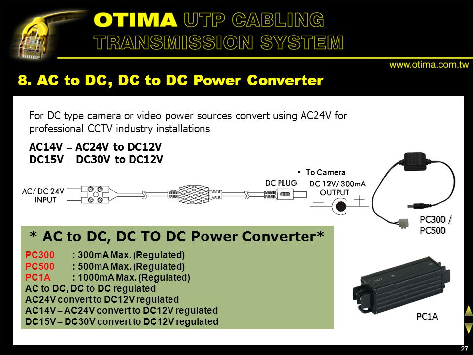 8. AC to DC, DC to DC Power Converter For DC type camera or video power sources convert using AC24V for professional CCTV industry installations AC14V