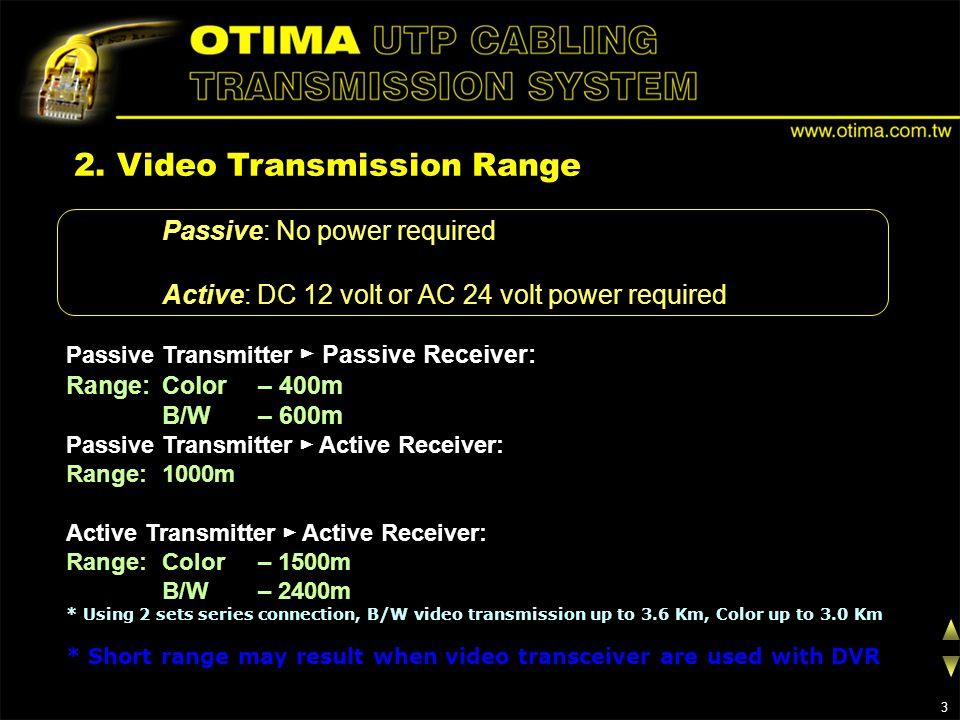 2. Video Transmission Range Passive: No power required Active: DC 12 volt or AC 24 volt power required Passive Transmitter Passive Receiver: Range: Co