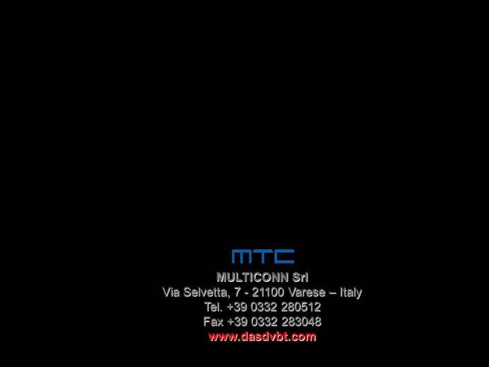 MULTICONN Srl Via Selvetta, 7 - 21100 Varese – Italy Tel. +39 0332 280512 Fax +39 0332 283048 www.dasdvbt.com