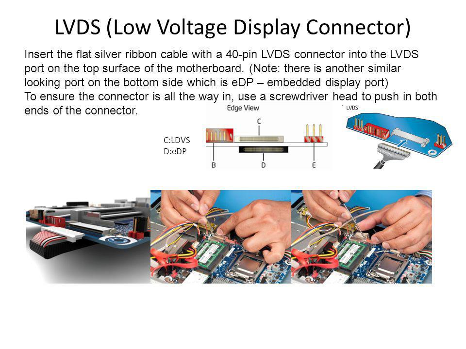 LVDS (Low Voltage Display Connector) Insert the flat silver ribbon cable with a 40-pin LVDS connector into the LVDS port on the top surface of the motherboard.